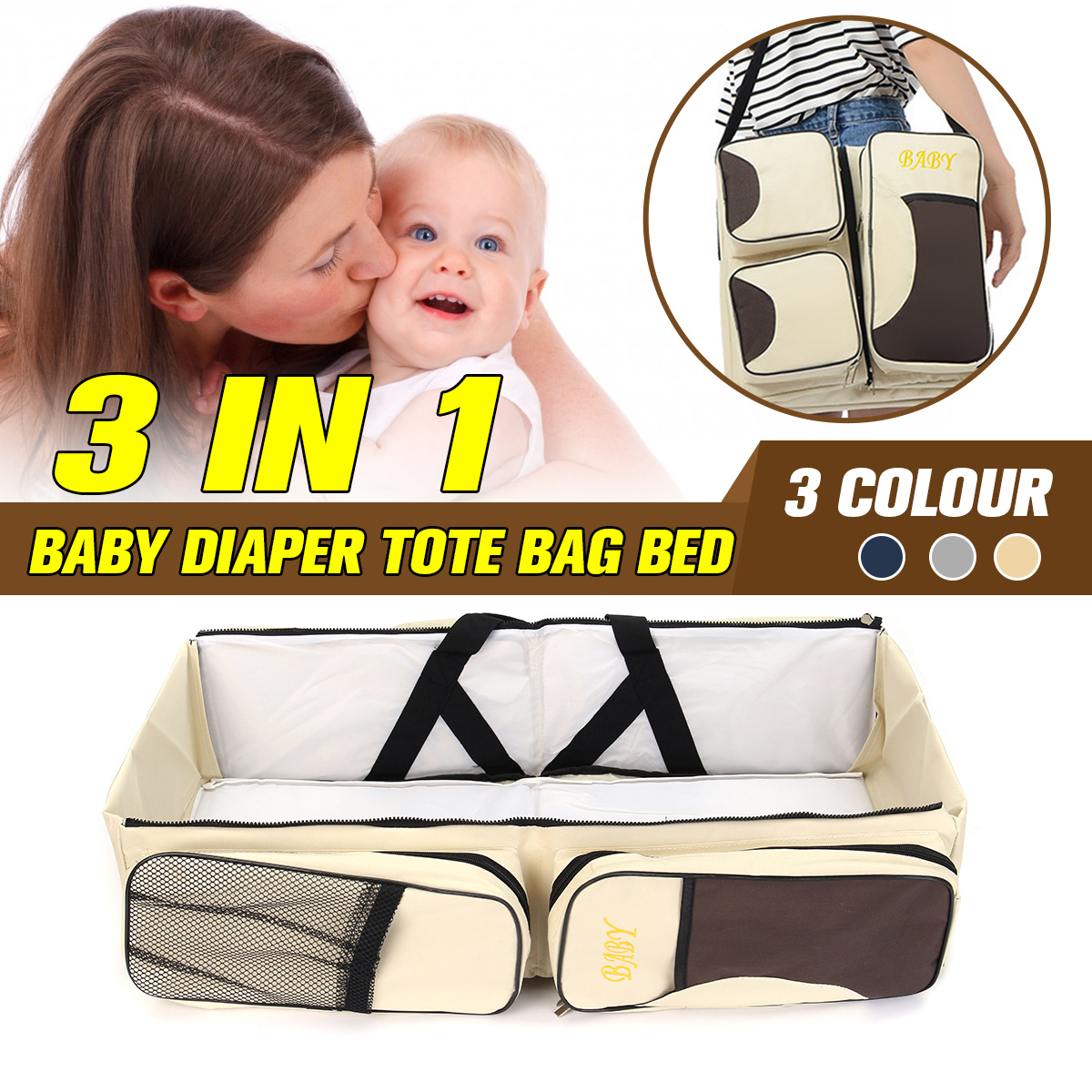 Fashion Large Space Nappy Bag Diapers Bag Folding Mummy Travel Baby Bed Kids Bottle Cloth Case 3 in 1 Portable Nappy Nursing Bag