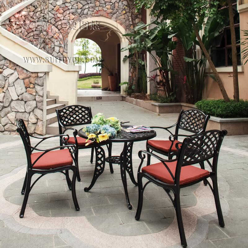 5 Piece Solid Cast Aluminum Patio Furniture Garden Set Heaving Duty Round Dining Table Arm Chair For Bar Clubs