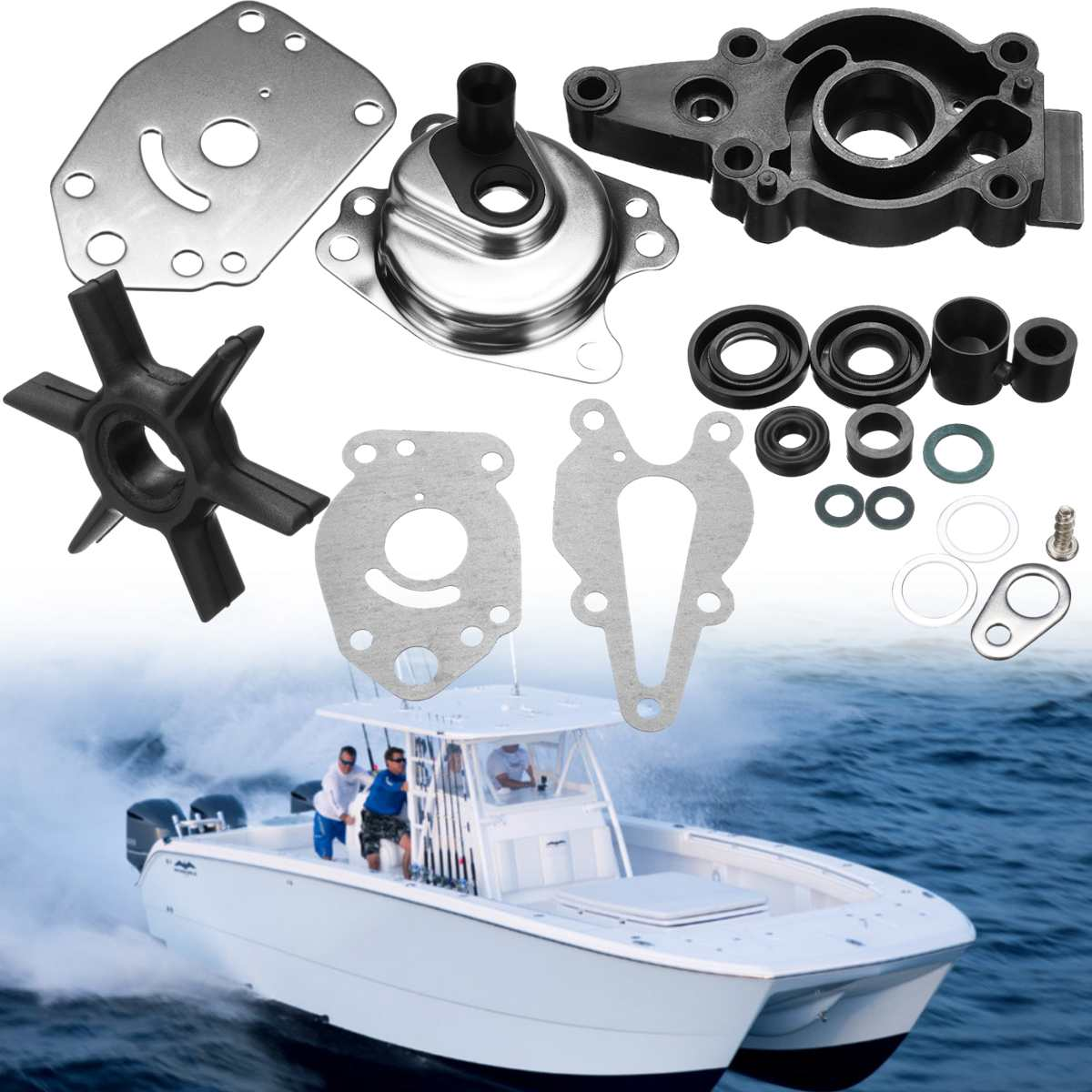 For Mercury 6/8/9.9/15HP 46-42089A5 Marine Boat Water Pump Impeller Repair Kit 6 Blades Boat Parts & Accessories Tool Parts
