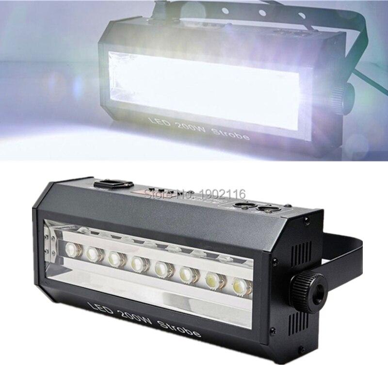 LED Strobe Light 200W Powerful 8Pcs 200W LED Strong White Flash Stage Lights DMX Sound Control Stroboscope For Disco DJ Bar Club
