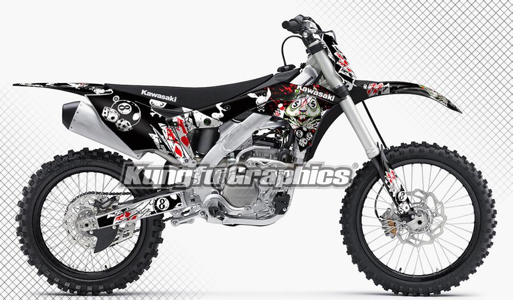 US $139 89 |KUNGFU GRAPHICS Dirt Bike Racing Stickers Kit Custom MX Decals  Wraps Black for Kawasaki KXF 250 KX 250F KXF250 KX250F 2017 2018-in Decals
