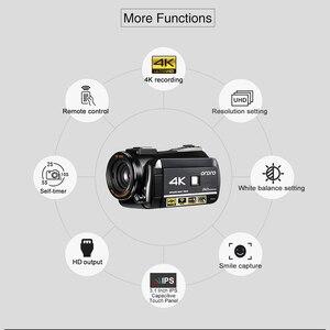 Image 3 - Ordro câmera de vídeo ac3 4k, wi fi, câmera camcorder, 24mp, 3.1, Polegada ips, 0.39x, ângulo aberto, lentes + microfone + capuz + suporte da câmera das lentes
