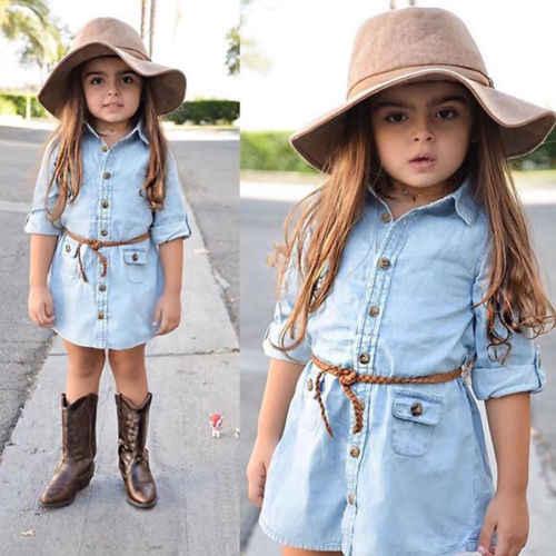 New Summer Light Blue Jeans Dress Kids Girl Denim Sashes