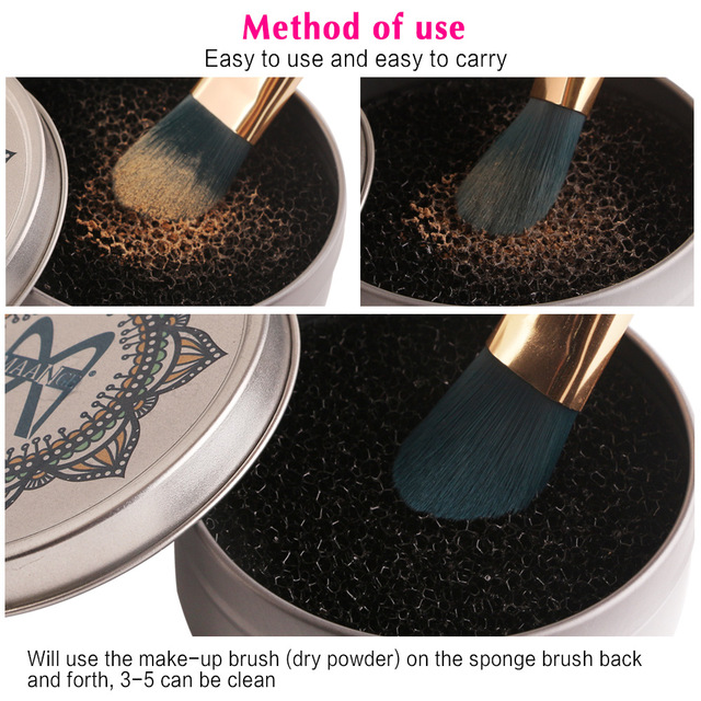 Makeup Brush Cleaner Quick Color Off Sponge Aluminum Box Make Up Brushes Cleaning Powder Washing Eye shadow Sponge Cleaner Tool 4