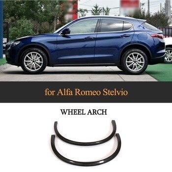 2 stücke Vorderrad Kotflügel Flares Für 2017-2018 Alfa Romeo Stelvio Carbon Faser Rad Arch Augenbraue Schutz Kotflügel aufkleber