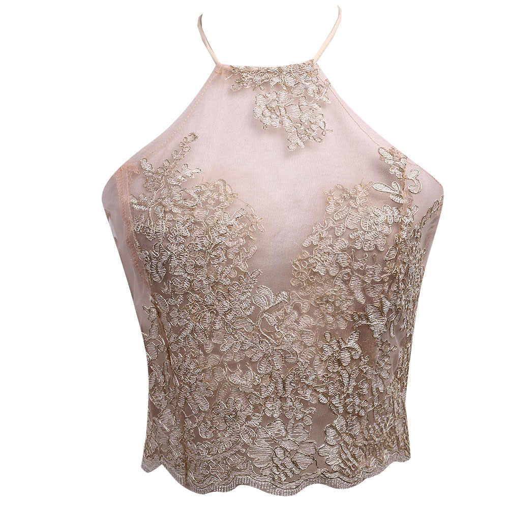 6e8c05cc734 Sale Sexy Camis Women Transparent Lace Embroidery Crop Top Sleeveless Sexy  Slim Lady Bralette Tops Strap