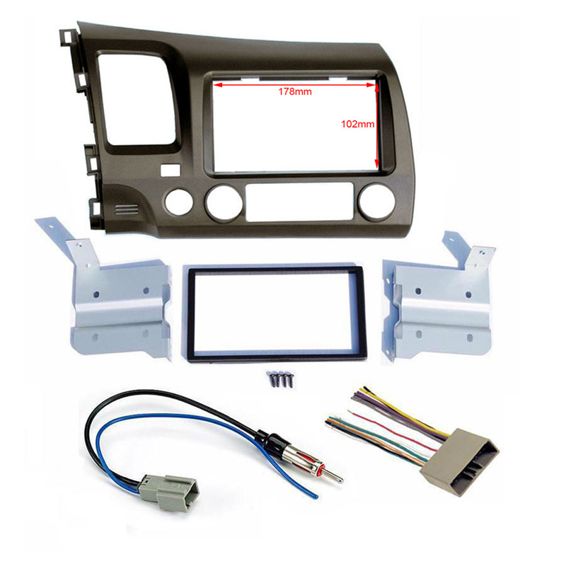 Car Taupe Radio Stereo Double 2 Din Dash Kit With Wiring Harness For 06 11 For