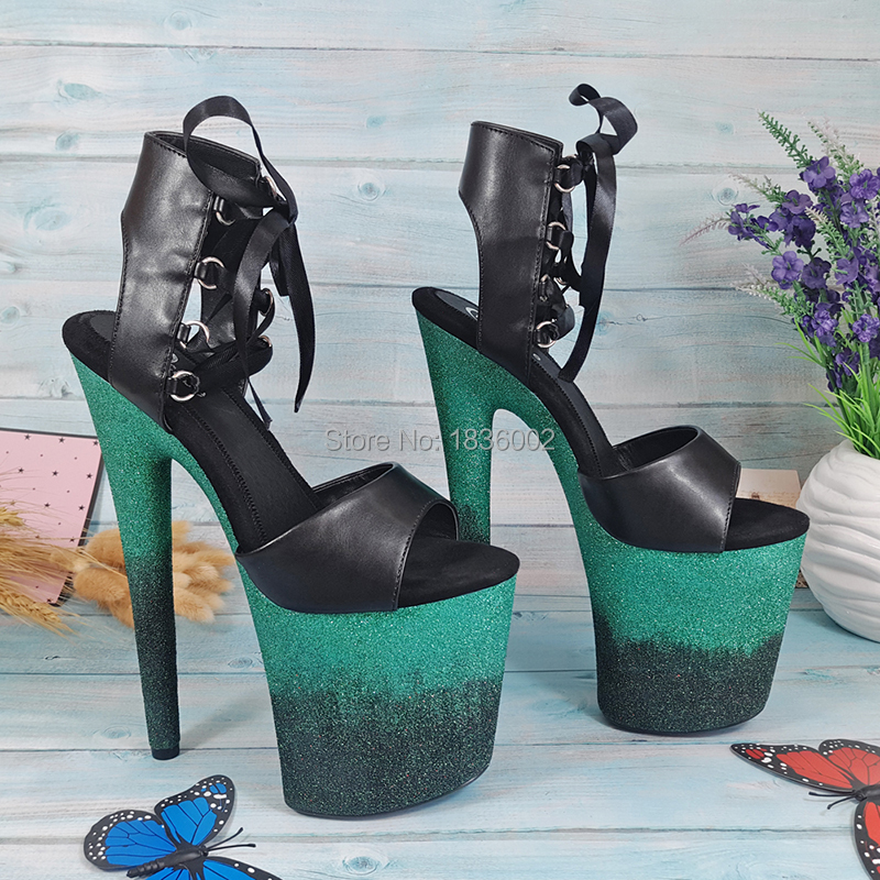 Leecabe Summer New Womens colorful Glitter Platform Sandals Pole Dancing  sandal Shoes 8 Inch High Heels cd55e1595a8f