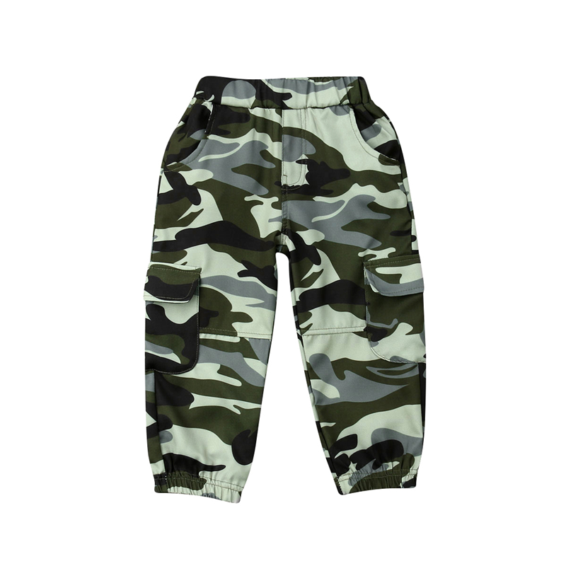 2019 Cool Toddler Boys Army Camouflage Trousers Hip hop Long Pants Capris Age 2-7 Years