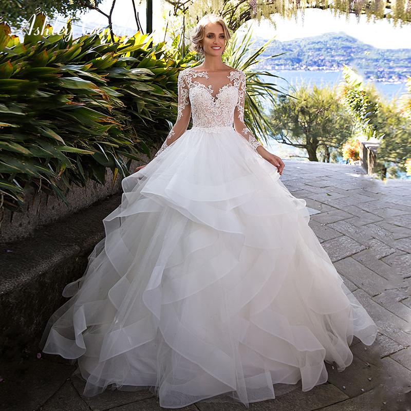 Ashley Carol Tulle Wedding Dresses With Sleeves Fashion Boat Neck Illusion Sexy Backless Bridal Dress Princess Wedding Gowns