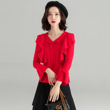 Long sleeve pullover women fashion spring and autumn new ruffles sweet sweater flare sleeves Korean bow feminino SJ1043