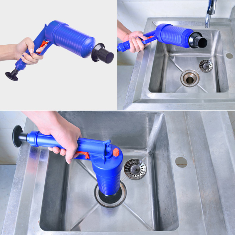 air power drain blaster gun and manual sink plunger opener cleaner pump for toilets