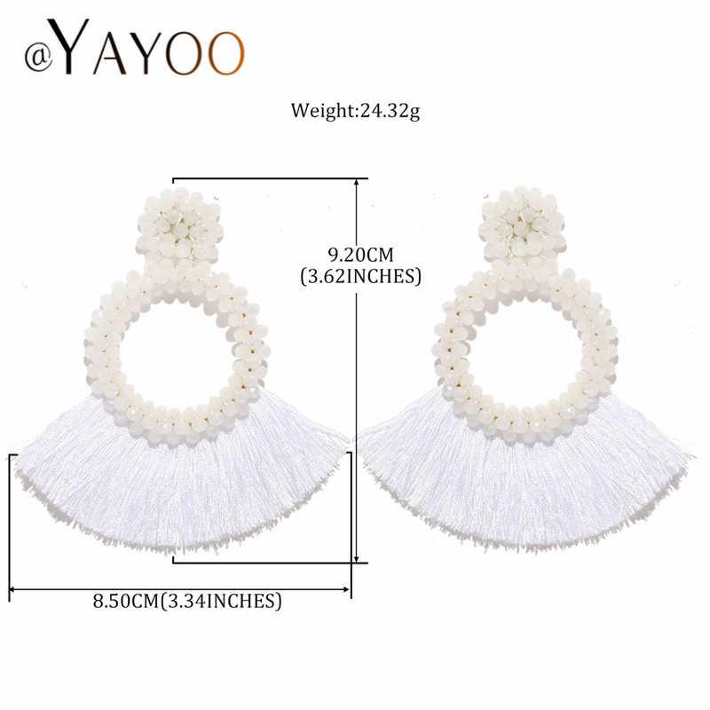 Lange Tropfen Quaste Ohrringe Für Frauen Vintage Ethnische Big Kristall Ohrring Hochzeit Erklärung Mode Schmuck Ohrringe Weibliche