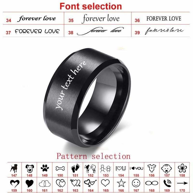 Cutsom גברים של שחור טבעת נירוסטה רגיל חתונה מותגים 10mm אישית טקסט לוגו שם גדול גודל