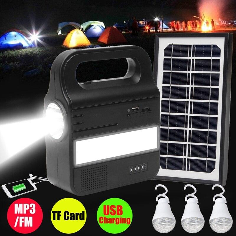 Smuxi 1 комплект солнечное освещение Системы генератор зарядка через usb Перезаряжаемые лампа MP3/FM походный источник питания с 1xsolar Панель 3 xBulb