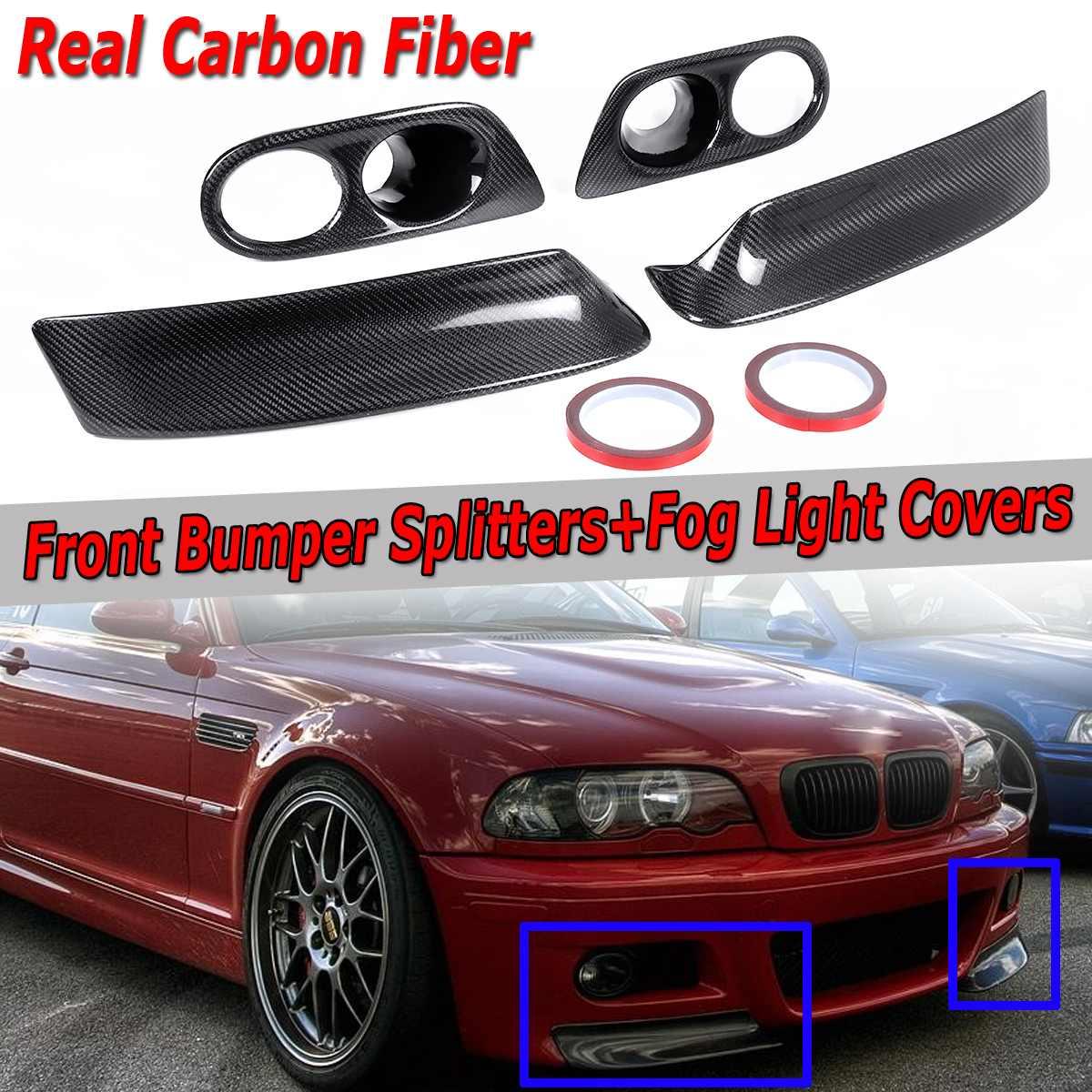 Pour BMW E46 M3 2001-2006 CSL Style voiture pare-choc avant lèvre séparateur + couvercle anti-brouillard avant pare-chocs Spoiler couverture vraie Fiber de carbone