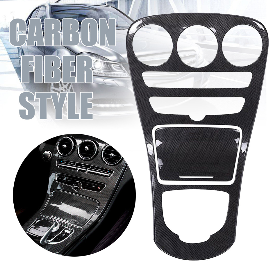 Mayitr 1set Carbon Fiber Style Center Console Gear Panel Cover For Mercedes Benz C Class With Clock W205 C180L 15-17