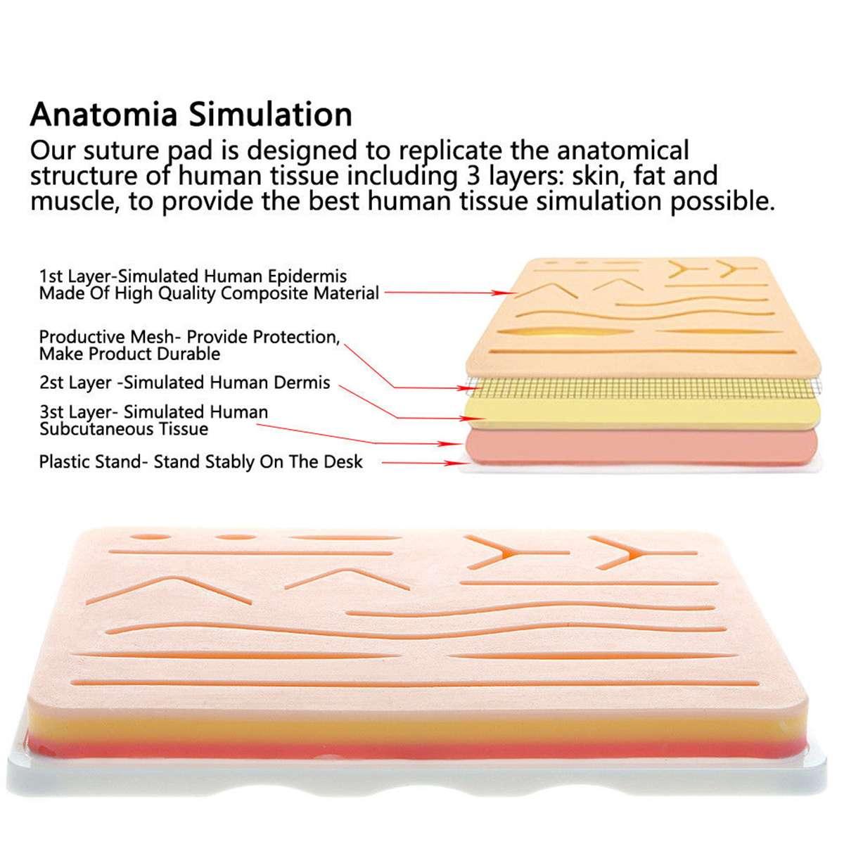 25 en 1 Kit de formation chirurgicale de Suture de peau médicale Silicone Pad aiguille ciseaux Silicone + acier inoxydable doux facile à utiliser - 3