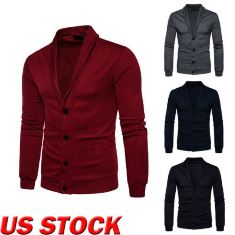 Men Turn Down Collar Button Up Cardigan Spring Casual Knitted Sweaters Solid Male Outwear Tops Sweater Coat