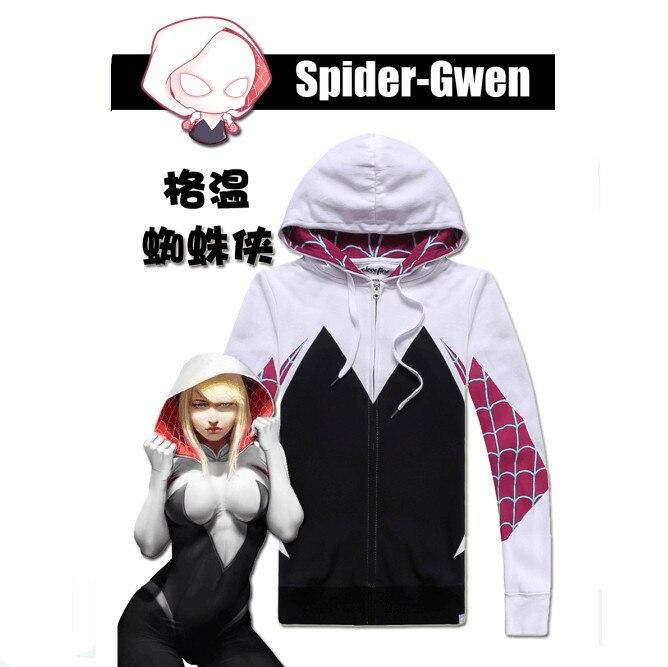 2019 XXXXXL XXXXL  Spider Gwen Spiderman Cosplay Costume 3D Zipper Jacket Coat Outfit Clothing Hoodies Sweatshirt Men Women
