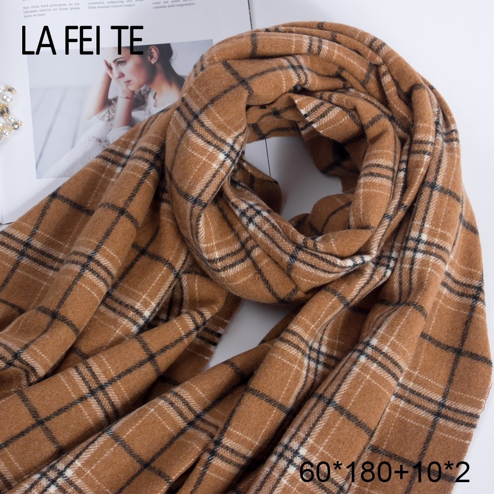 Image 4 - Pure 100% Wool Scarf Women Foulard Neck Handkerchiefs Echarpe Homme Cashmere Shawls Blanket Stoles Women Scarves For Ladies 2019-in Women's Scarves from Apparel Accessories