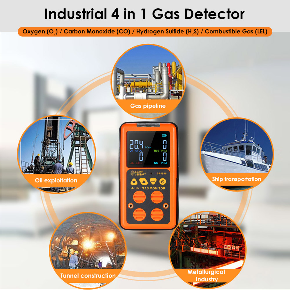 SMART SENSOR 4 in 1 Gas Detector CO Monitor Industrial Digital Handheld Toxic Gas Carbon Monoxide