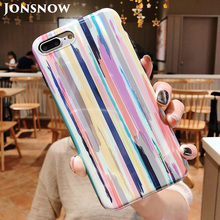 JONSNOW Phone Case for iPhone 8 X XS Laser Rainbow Glossy 7 6 6s Plus Soft Silicone Protective Back Cover
