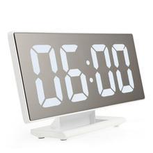 Nouveau Upgrate Numérique Alarme Horloge LED Miroir Horloge Multifonction Snooze Temps D'affichage Nuit Led Table De Bureau(China)