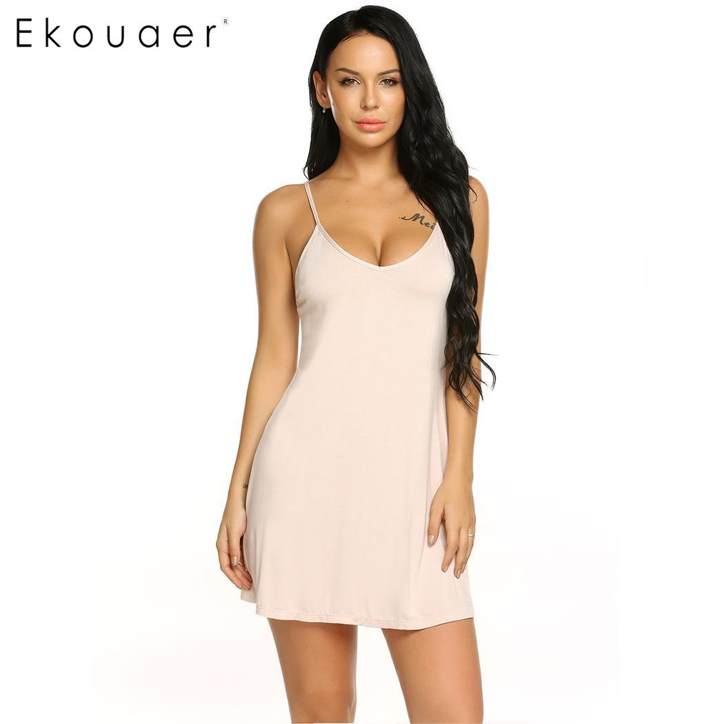 Ekouaer Women Sexy Lingerie   Nightgown     Sleepshirts   Sling V-Neck Nightdress Spaghetti Strap Slim Night Dress Black White Apricot