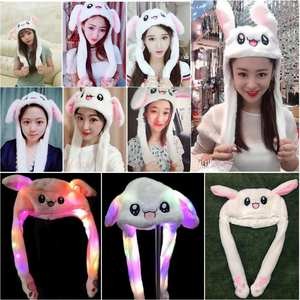 2019 Fashion Moving Hat Rabbit Ears Plush Sweet Cute light Cap 2 color can be choose