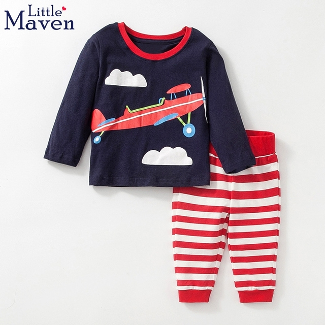c86fa4619147 Baby Boy Clothes Toddler Outfit Boys Clothing Sets Children Long Sleeve Airplane  Print Top With Pant Kids Tracksuit Little Maven