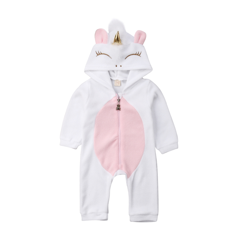 2019 Modis Newborn Kid Baby Girl Clothes Cute Unicorn Flannel   Romper   Winter Warm Hooded   Rompers   Ropa Bebe Girl Carters Outfits