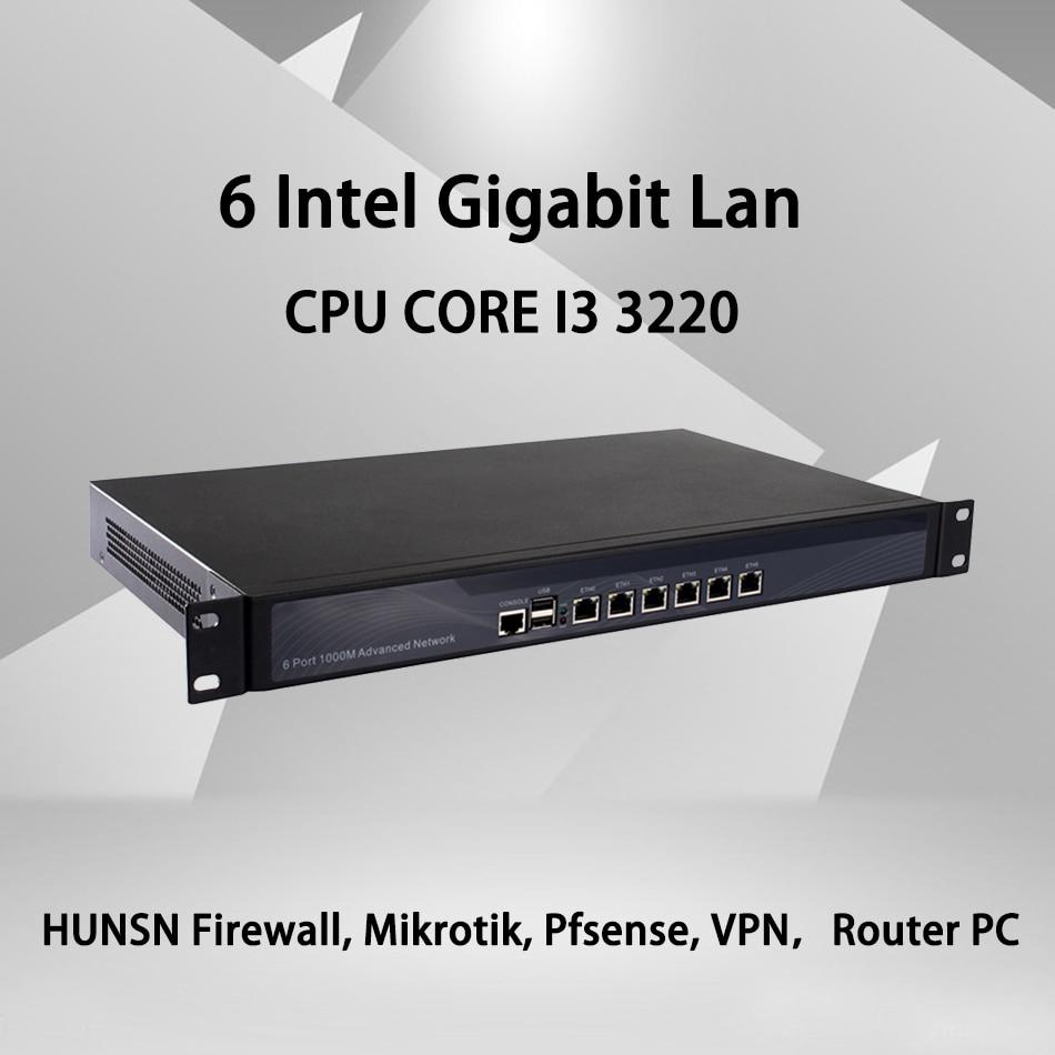 Firewall Mikrotik Pfsense VPN Network Security Appliance Router PC Intel Celeron I3 3220,[HUNSN SA10R],(6Lan/2USB/1COM/1VGA)
