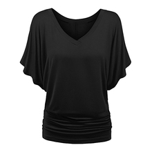 ROSE GAL Women T Shirt Short Bat Sleeved Solid Cotton Loose Basic Top Female Modis Streetwear Plus Size V Neck T-Shirt