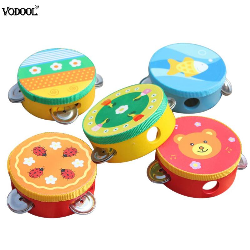 Educational Cartoon Musical Tambourine Beat Instrument Hand Drum Baby Toys