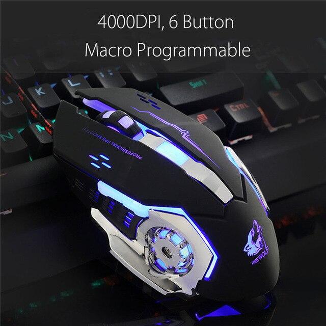 Macro programable para ratón de juegos de 4000 dpi 6 botón óptica del LED retroiluminación computadora ratón jugador PC ratones LOL ordenador portátil