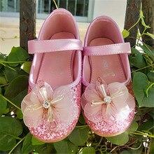 Princesa sapatos crianças sapatos de salto Sapatas De Vestido De Couro sapatos de Festa Meninas Do Bebê show de Cristal Shinny 605-3