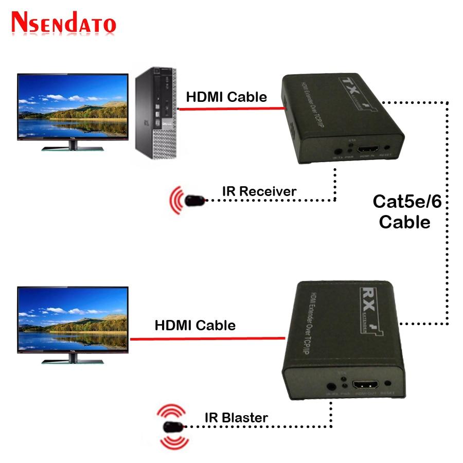 150m 1080P HDMI IR Extender over TCP IP Cat5e/Cat6 by Rj45 HDMI Transmitter Receiver LAN Network Extensor Extender For TV DVD
