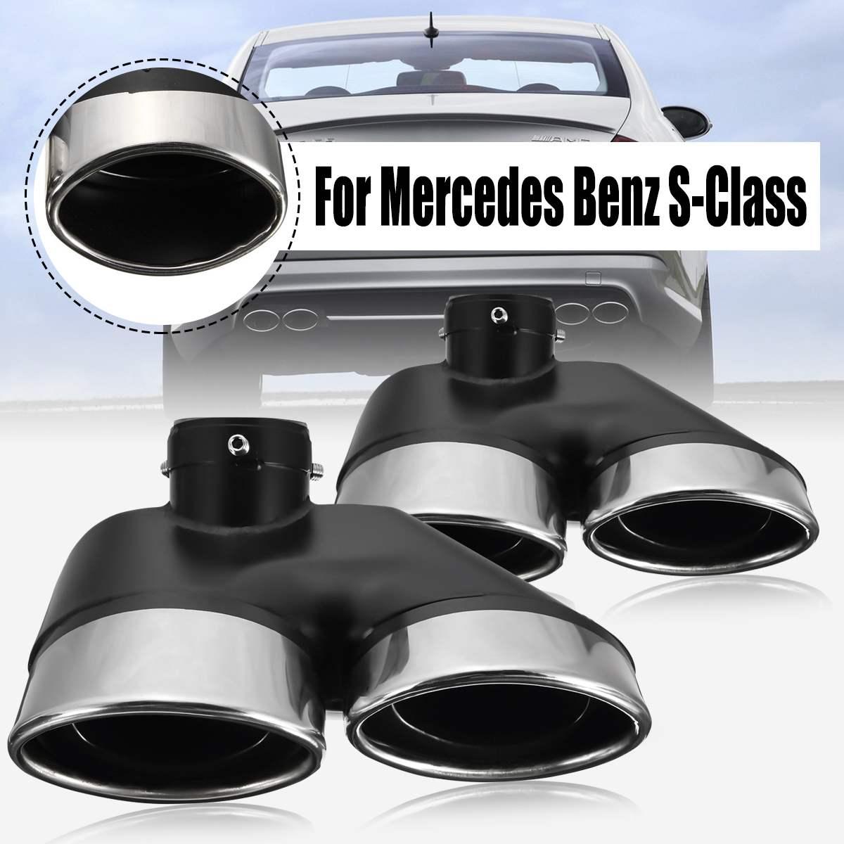 Pour mercedes-benz W220 S430 S500 pour AMG 2000 2001 2002 2003 2004 2005 2 pièces Auto double pot d'échappement en acier inoxydable embouts tuyau