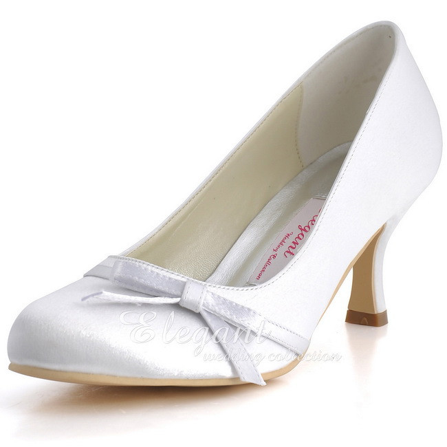 White Women's Wedding Shoes Mid Heel Closed Toe Bows Slip