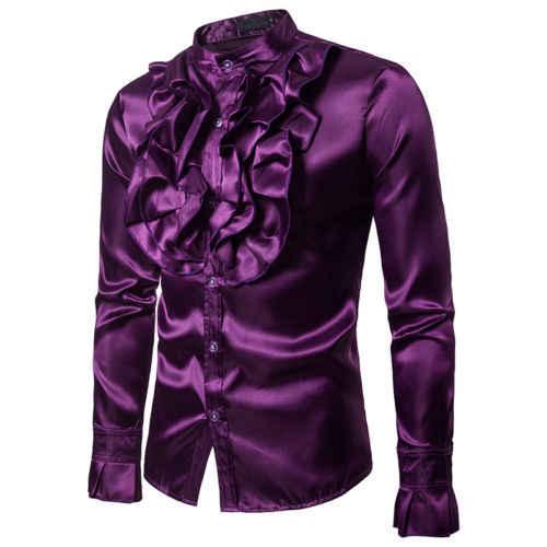 אופנתי יוקרה משי חולצה גברים 2019 סאטן חלק מוצק טוקסידו חולצת Slim Fit המבריק זהב חתונה שמלת חולצות