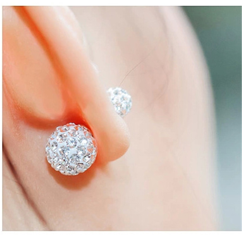 925 sliver Double Bead Diamond Earrings for Women Gold Brincos Perola Bizuteria Boucle D Oreille Perle Orecchini Gemstones hot in Earrings from Jewelry Accessories