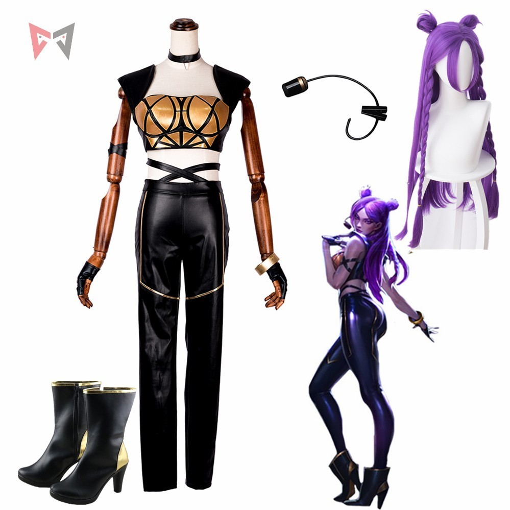 LOL KDA Kaisa Cosplay Costume Game Carnival Sex Women Shoes Clothing Bra Tops Leather Pants Wig Earphone Custom Made Size