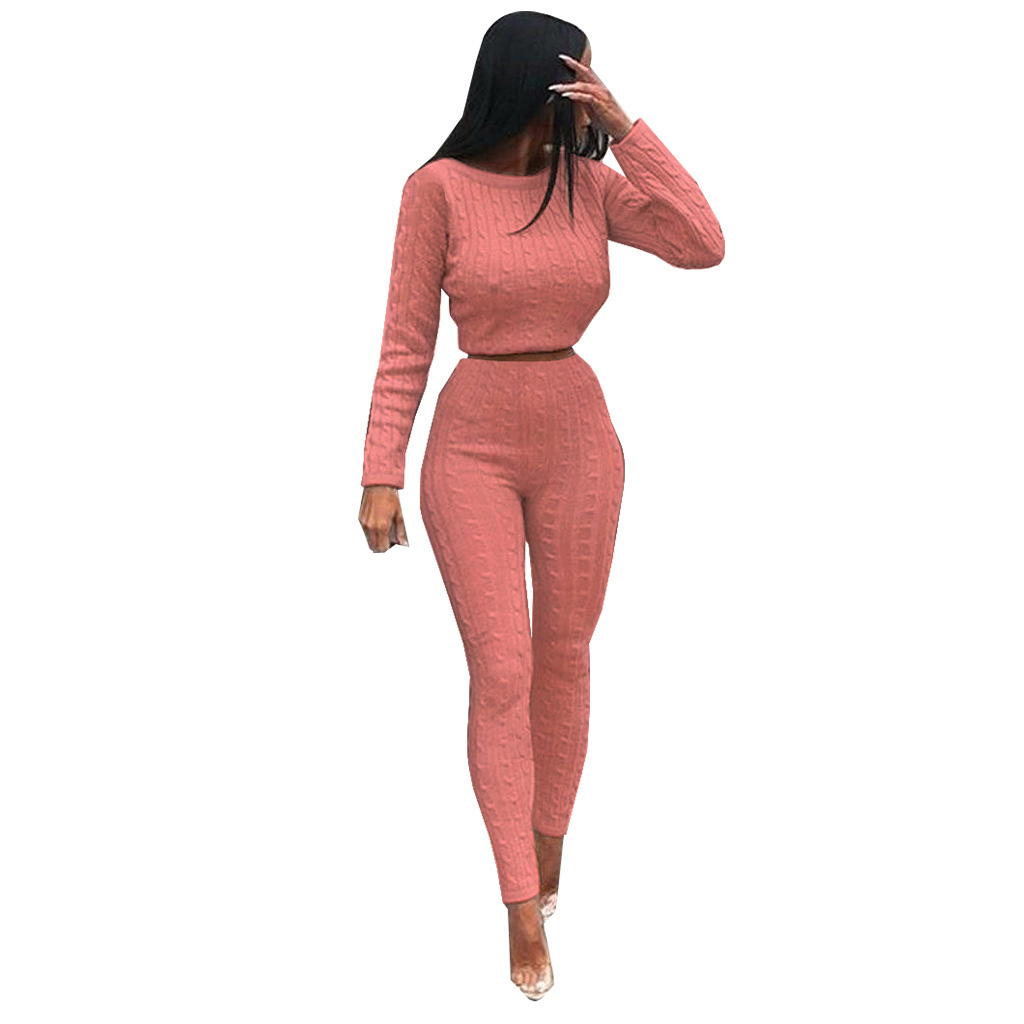 Casual Warm Knitted Suit Women Outfits O Neck Black Pink Long Sleeve 2 Piece Set Women Sweater Top Knitted Pants Set in Women 39 s Sets from Women 39 s Clothing