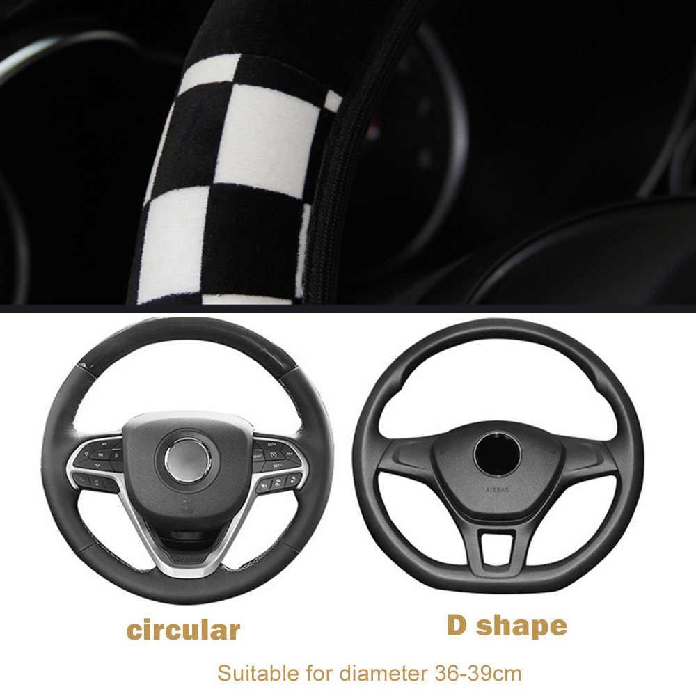 LEEPEE peluche tissu Auto décoration voiture volant housse Auto direction couvre diamètre 38cm voiture accessoires universel