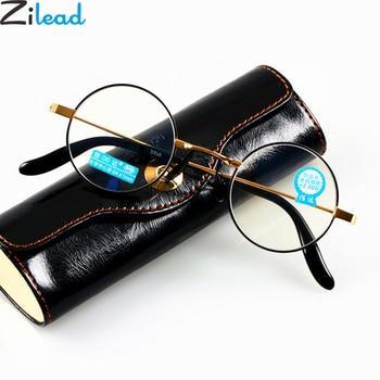 Zilead Retro Anti Blue-ray Round Reading Glasses Women&Men Gold Color Resin Presbyopia Glasses Eyeglasses Unisex For Elder