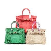 PRAVESDA 100% натуральная кожа топ ручка сумки Aligator bone Grain LeatherTotes сумка Роскошный бренд женские сумки