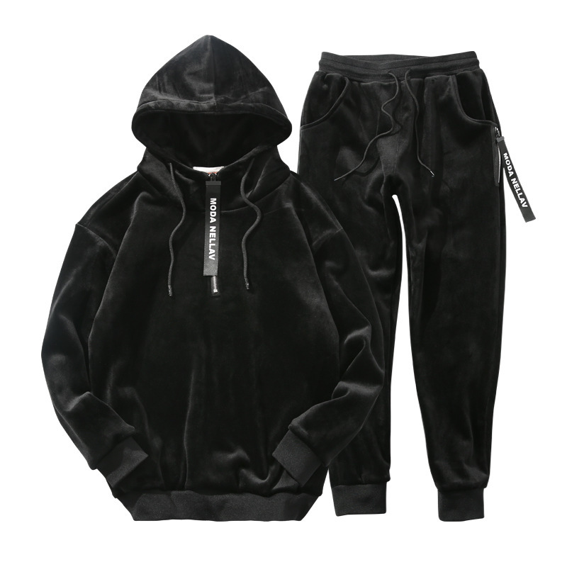Hommes ensemble 2018 hiver nouveau plus or velours épaissir chaud à capuche sweat streetwear hoodies + pantalon deux pièces ensemble hommes costumes - 6