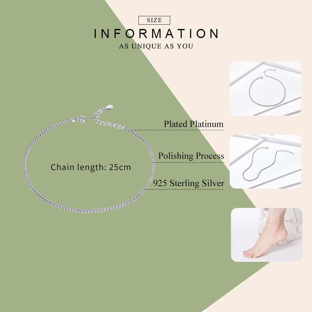 BAMOER Sıcak Satış Basit Uçucu Boncuk Bağlantı Halhal 925 Ayar Gümüş Bilezik ayak takısı Gümüş Kadın Bacak Zinciri SCT002