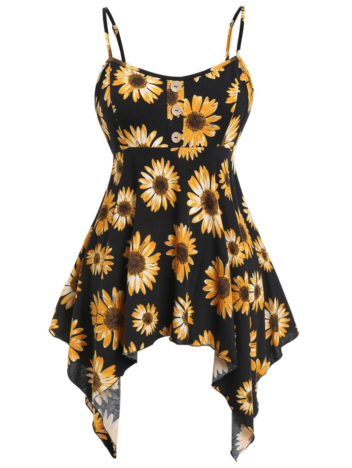 Wipalo Plus Size Printed Cami Asymmetrical Tank Top Sunflower Print Tank Top Printed Ladies Bandage Slim Vest 5XL